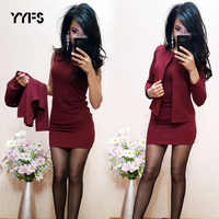 YYFS formal Suits Womens Sexy Sheath O-Neck Mini Dress Casual Coat Two Pieces 2019 New Fashion garnitur damski Sets blazer