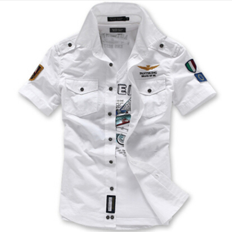 Fashion Airforce Uniform Military Short Sleeve Shirts Men's Dress Shirt  Military Uniform Shirt