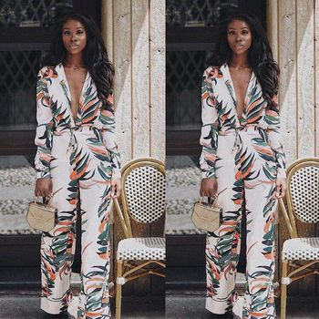 Spring Summer Rompers Women Jumpsuits Fashion Boho Printed Deep V Neck Jumpsuit Sexy Bodycon Playsuits Female One Piece Pants
