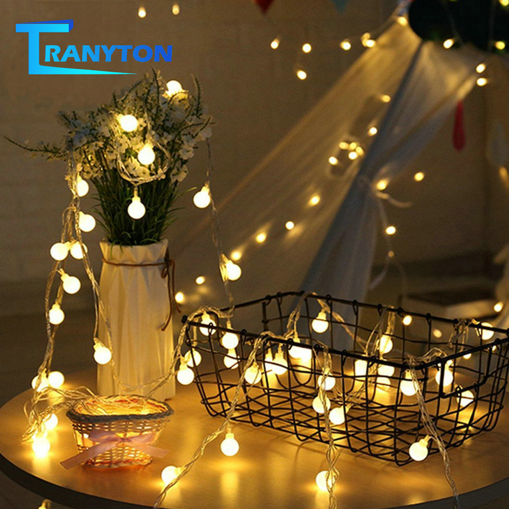 1M 2M 5M 10M LED Fairy Garland Ball String Lights Warm White USB / Battery Operated For Christmas Tree Wedding Home Decoration