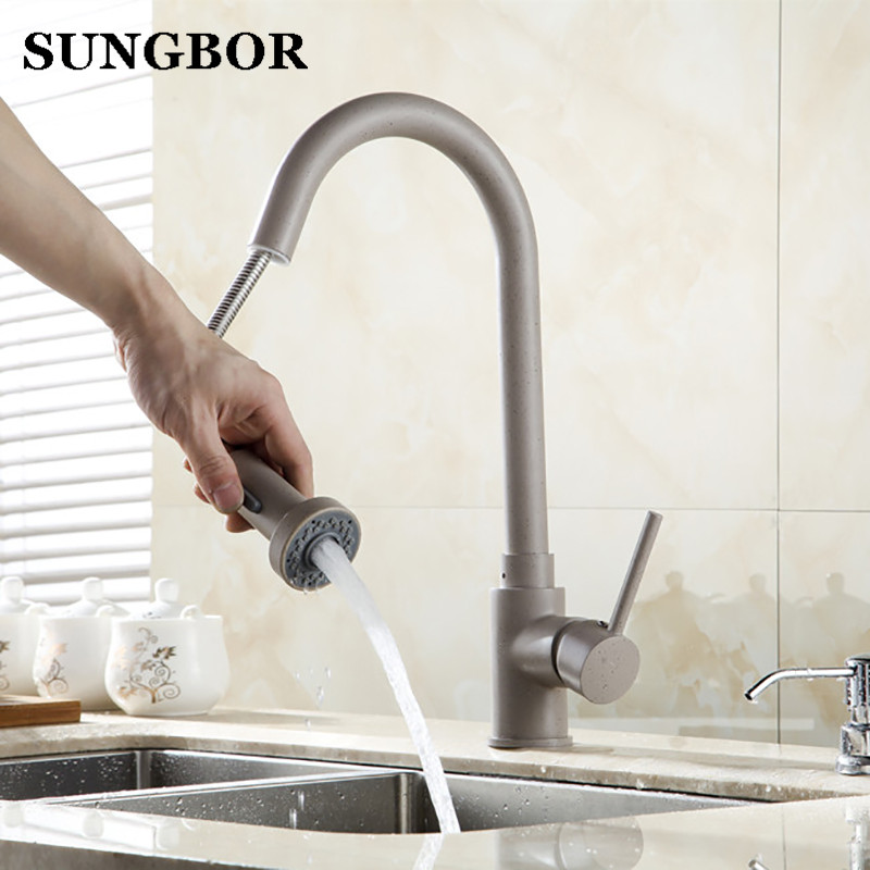 Kitchen Faucets 360 Degree Swivel Faucet Hot Cold Mixer Tap Black Oatmeal Brass Faucet Newly Crane