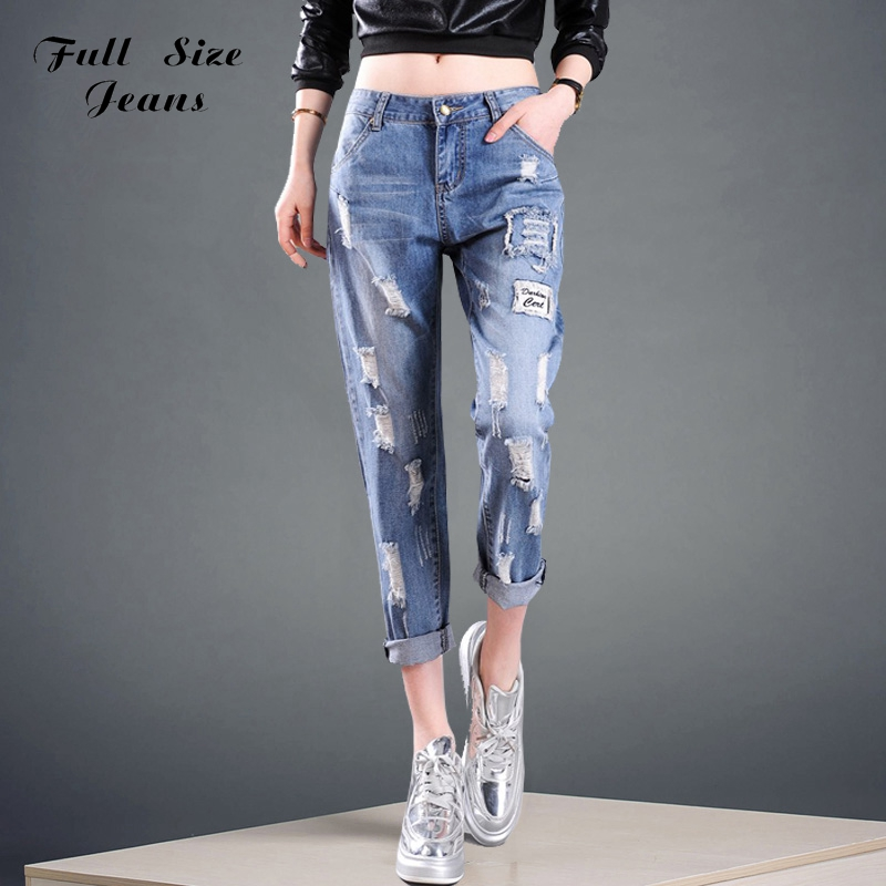 ФОТО Summer Design Plus Size Loose Ripped Denim Capris Jeans 5Xl Xxl 6Xl Big Size White Blue Seven Pants Oversized Trousers For Women