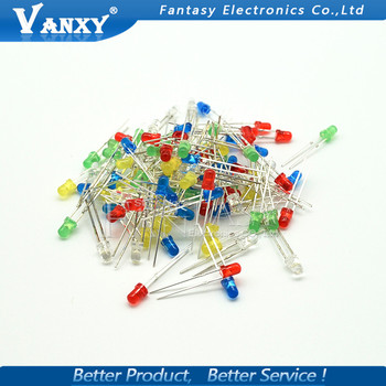 100PCS 3mm LED diode Light Assorted Kit White Yellow Red Green Blue  component DIY kit new original
