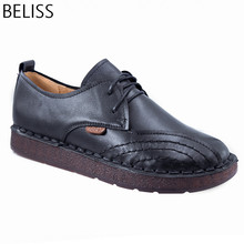 BELISS lace-up loafers casual flat shoes women handmade 2018 spring autumn cow leather soft comfortable flexible P4