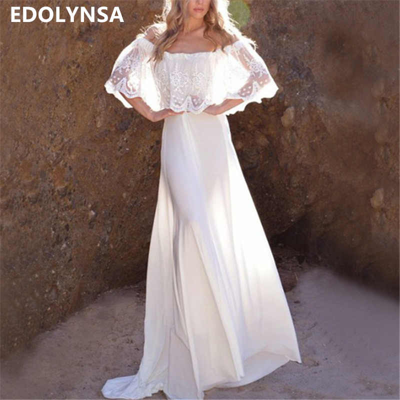 Sexy Slash Neck Off Shoulder Ruffled Summer Beach Dress Long White Lace Tunic  Women Beachwear Elegant d3d9a3534202