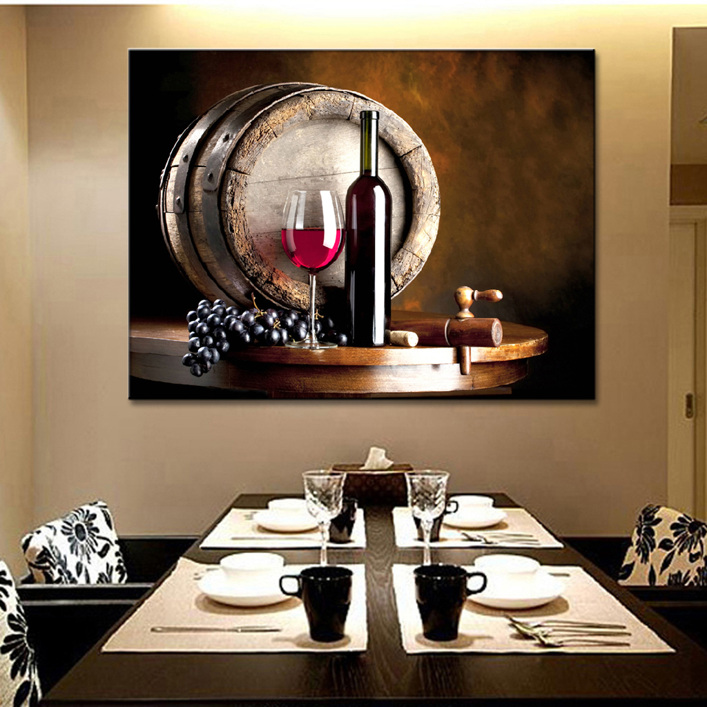 Grapes And Wine Kitchen Decor Oil Painting Wine Bottle Grapes Promotion Shop For Promotional Oil