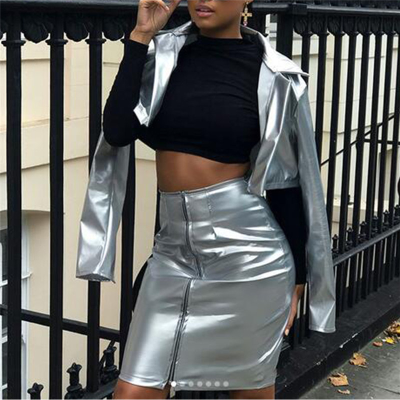 Women Vestidos Fashion Two-piece Sets PU Jacket Bodycon Skirts Suits  Cropped Tops Coat Mini Skirts Sets Faux Leather Suits