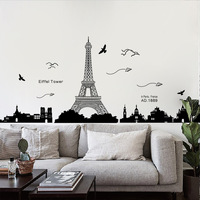 PVC Romantic Paris Eiffel Tower Wall Hangings Living Room Bedroom Background Decoration Removable Vinyl Wall Stickers