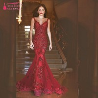 New Arabic Backless Mermaid Evening Dresses Charming Long Prom Gowns Sequins Sweetheart Lace Applique Formal Cheap Evening Gowns