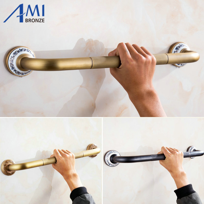 Antique Brass Brushed Bathtub Grab Bars Handrails Old People Bathroom Handle Armrest Bathroom Safety & Accessories