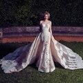 Haute Couture Luxury Mermaid Wedding Dresses with Detachable Train 2017 Lace Applique Exquisite Bridal Party Dress Vestido noiva