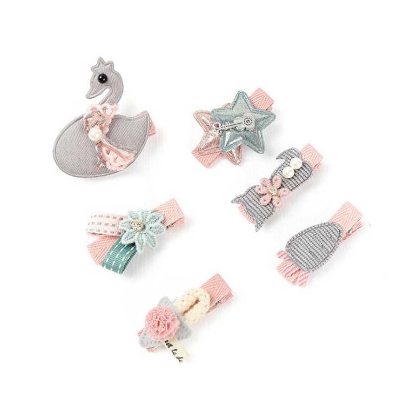 6 pcs/2 ชิ้น/เซ็ตเด็กหญิงน่ารักสัตว์เจ้าหญิงคลิปผมอุปกรณ์เสริมผมเด็กน่ารักลูกไม้ดอกไม้ Barrette hairpins
