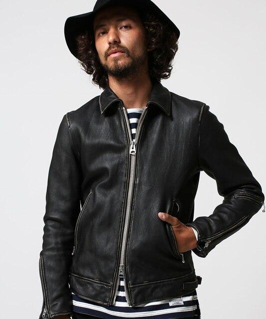 1f696d18d US $298.0 |High fashion brand slim fit vintage genuine leather jacket men  washed do old sheepskin biker jacket for men style leather coat-in Genuine  ...