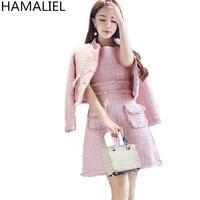 HAMALIEL Small Fragrance Tweed 2 Piece Set Dress Autumn Winter Pink Single Breasted Tassel Thick Jacket Coat + Vest Ball Suits