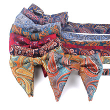 Fashion Paisley Bow Tie For Men Women Classic Big Bowtie Party Wedding Bowknot Adult Cotton Mens Bowties Cravats Red