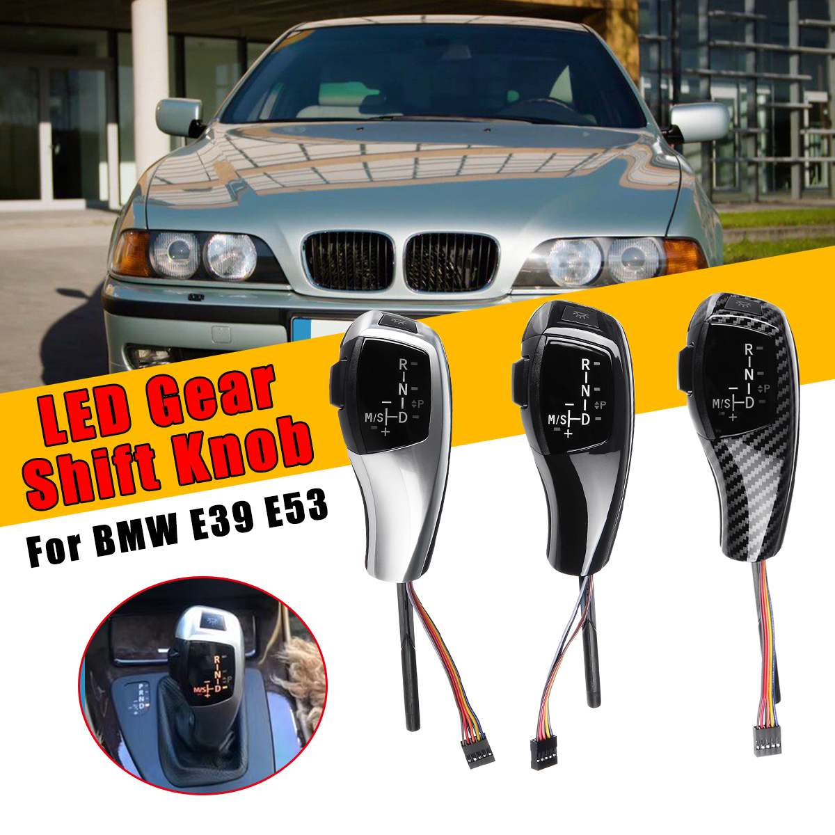 LED levier de levier de levier de vitesse manuel LHD bouton automatique pour E39 4D berline/E39 5D 1996-03 E53 facelifté 2004-06