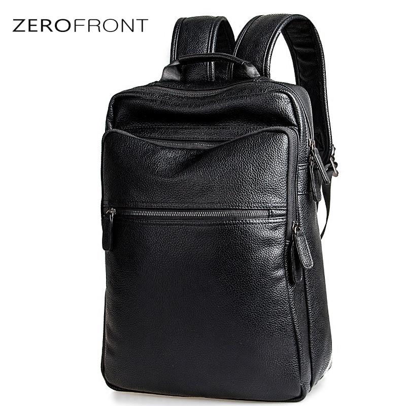 Fashion Male's Casual Backpacks for School Travel Bags Black PU Leather Men's Fashion Shoulder Bag Men Backpack 15inch laptop ba