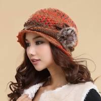 Cappello femminile di inverno handmade lavorato a maglia berretto di lana termica a doppio strato autunno e inverno cappello lavorato a maglia