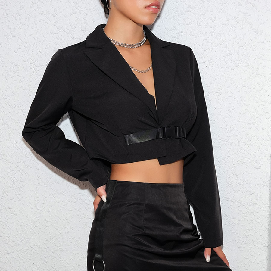 Slim Coat Lapel Short Suit Women Belted Coat Long Sleeve Crop Top Women Casacos Femininos Coat Women Streetwear  60j126