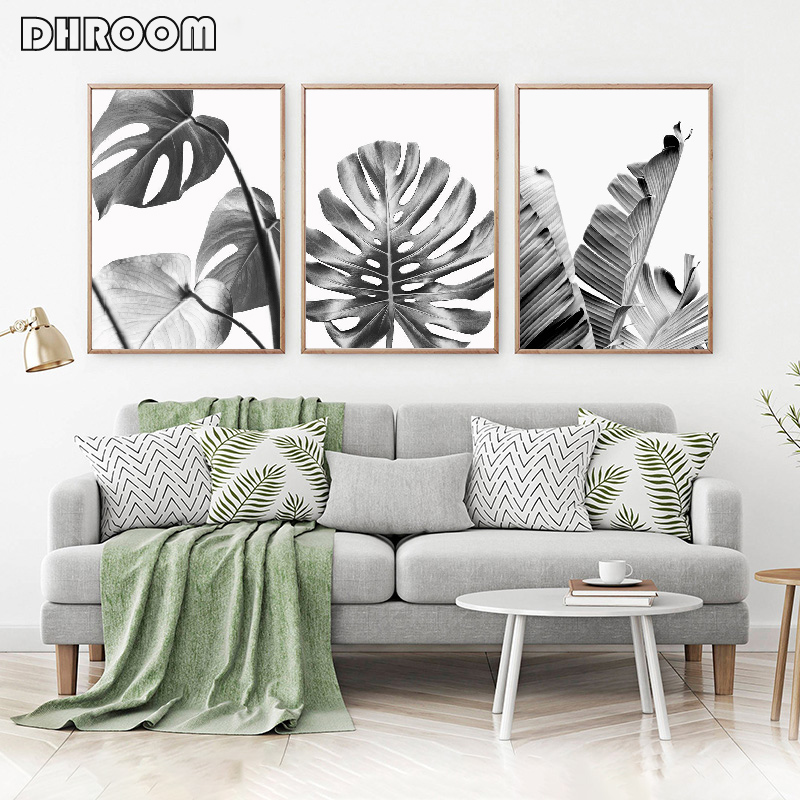 Black White Leaves Wall Art Tropical Leaf Canvas Poster Print Palm Banana Leaf Painting Decoration For Living Room Home Decor