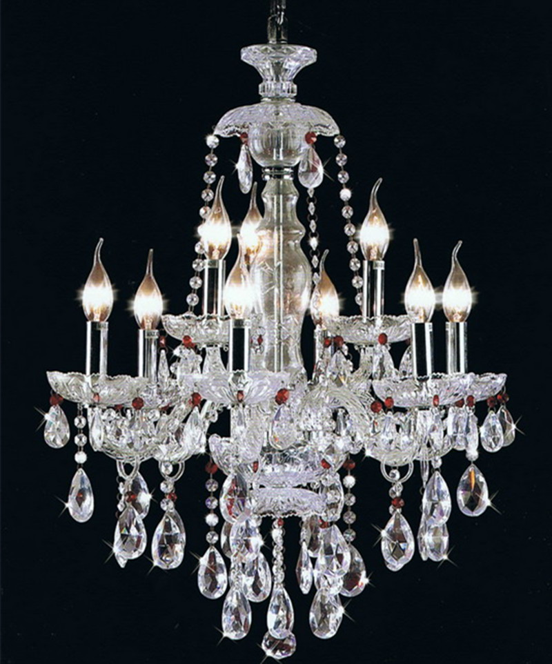 Paris style clear & purple crystal chandelier silver candle ...