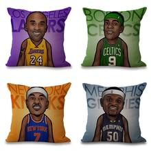 NBA Star Cushion Cover Bryant pillows Creative Basketball James Throw Pillowcase USA Sports James Square Almofadas Cushion Cas цена и фото
