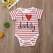 Newborn Baby Boys Girls Clothes Cotton Striped Romper I Love Daddy Print Jumpsuit Outfits