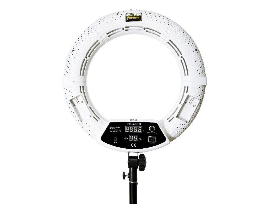 Yidoblo RU доставка FD-480II Белый Би-цвет фото студия кольцо света светодио дный видео лампы фотографическое освещение 96 Вт 5500 К 480 светодио дный ог...