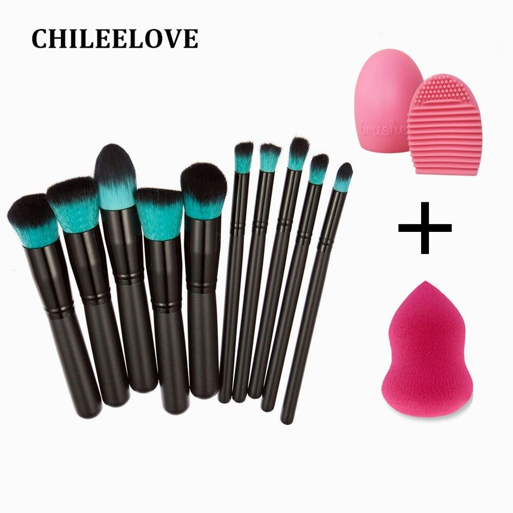 CHILEELOVE 10 Pcs/Set Base Cosmetics Makeover Makeup Brushes Kit + Wash Egg + Powder Puff Facial Make Up Tool extreme makeover
