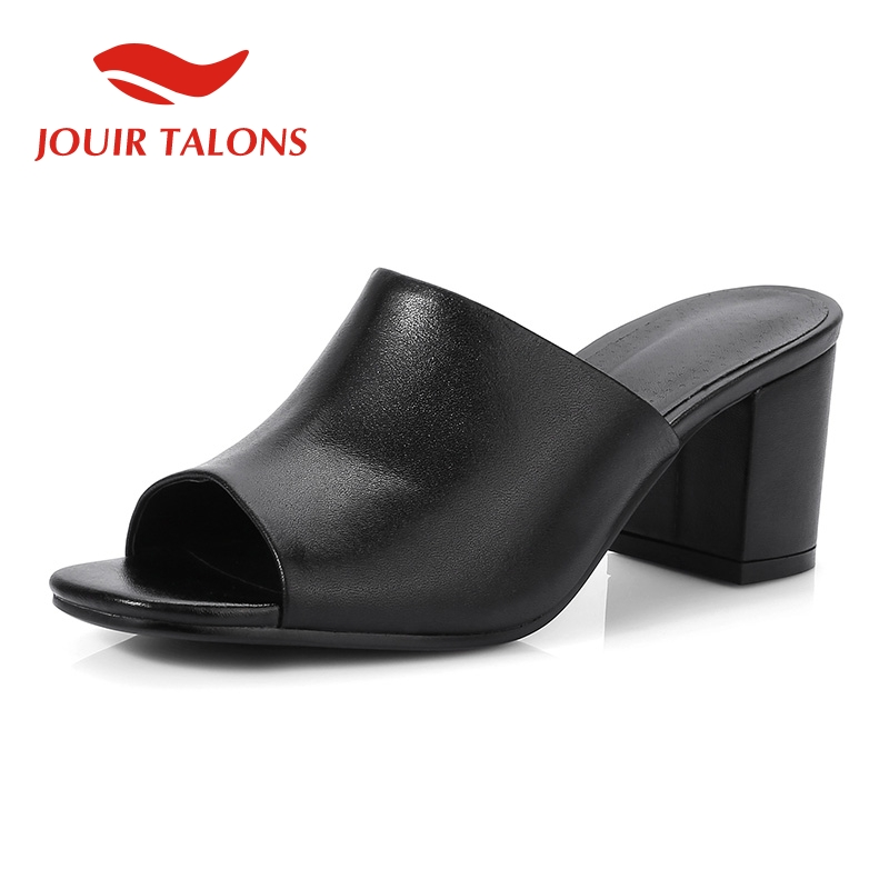 JOUIR TALONS 2019 fashion genuine leather summer women Shoes lady open toe elegant party shoes woman