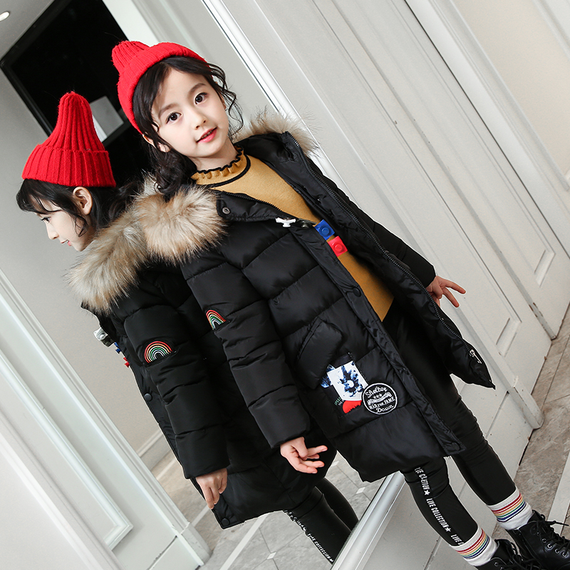 2018 Winter New Children Fashion Big Pocket Solid Color Cotton Coats Girls Thickening Hooded Warm Jackets Girl Fur Collar Jacket olgitum 2017 women vest jackets new fashion thickening solid casual cotton fashion hooded outerwear