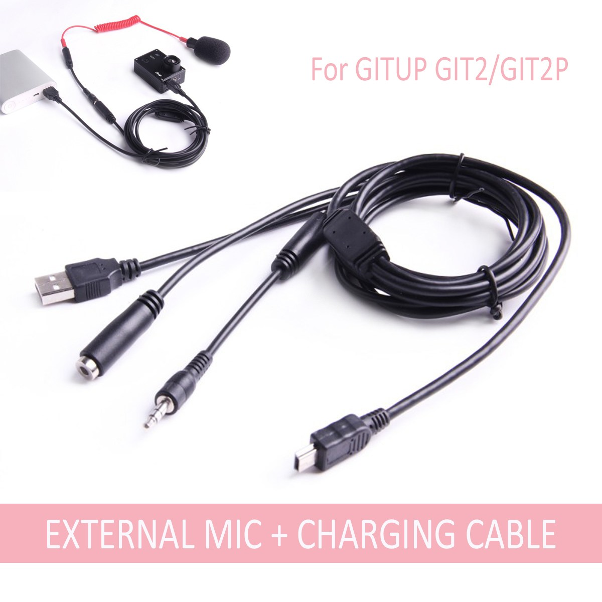 Mini USB 3.5mm External Microphone And Charging Cable For GITUP GIT2/GIT2P 2 in 1 Charge Cable