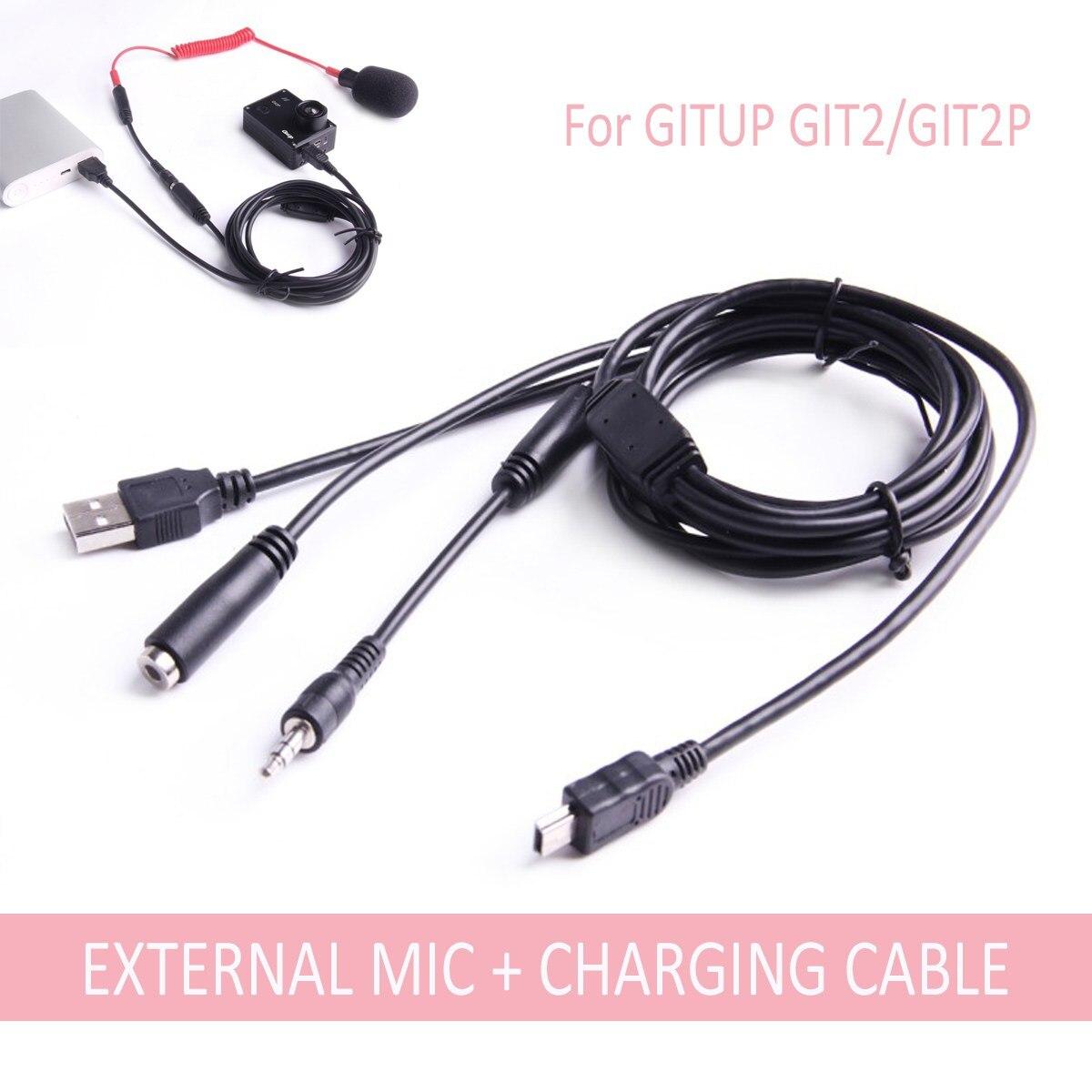 Mini USB 3.5mm micrófono externo y cable de carga para gitup GIT2/GIT2P 2 en 1 cable de carga