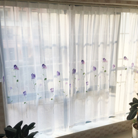 Modern Simple Flowers Embroidered Sheer Curtains for Living Room Window Tulles for Kitchen Yarn Voile Curtains for Kids Bedroom