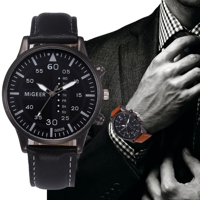 Hot Sale Mens Watches Alloy Quartz PU Leather Sports Watch Business Wristwatch M