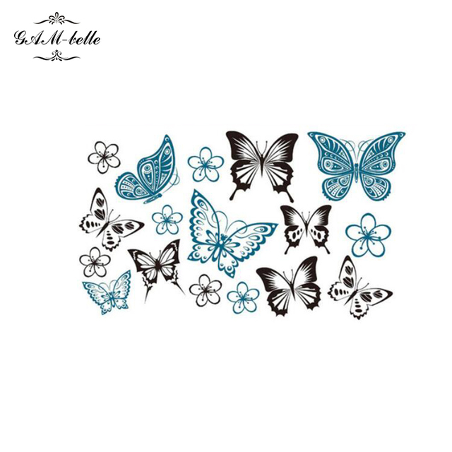mignon papillon tatouage de l 39 eau de fleur autocollant simulation bleu noir couleur papillon et. Black Bedroom Furniture Sets. Home Design Ideas