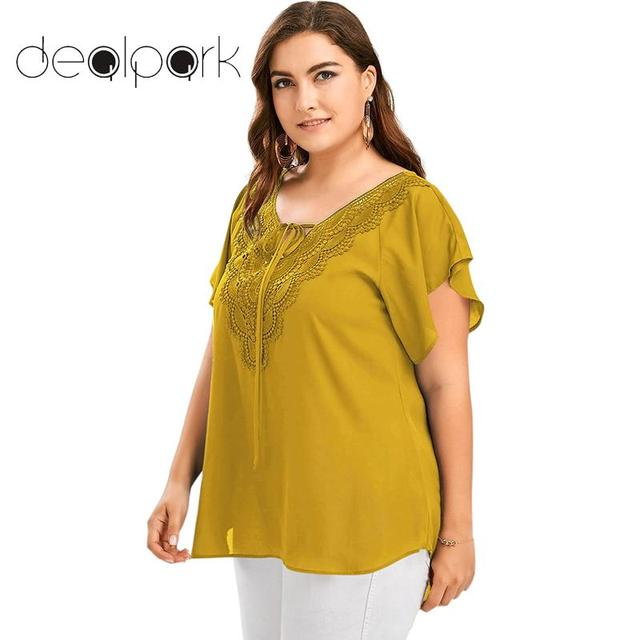 ffa91023dd2 Women Blouses 3XL 4XL 5XL Plus Size Tunics V Neck Crochet Lace Short Sleeve  workwear Asymmetric Shirt summer tops for women 2019