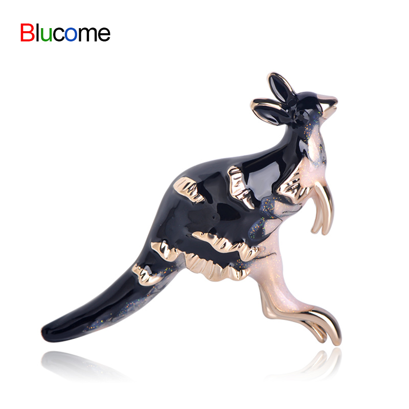 Fashion animal brooches Kangaroo Black Enamel Brooch For Women Boy Hat Suit Corsage Sweater Clip Souvenir Accessories Jewelry