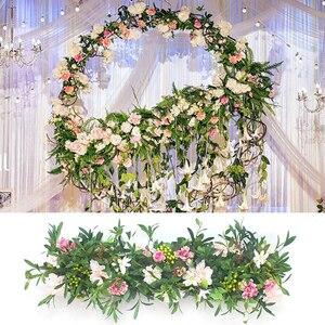 Image 4 - 1M Europäischen hochzeit requisiten seide künstliche blume reihe anordnung bühne T plattform straße führen blume reihe arch floral wand decor