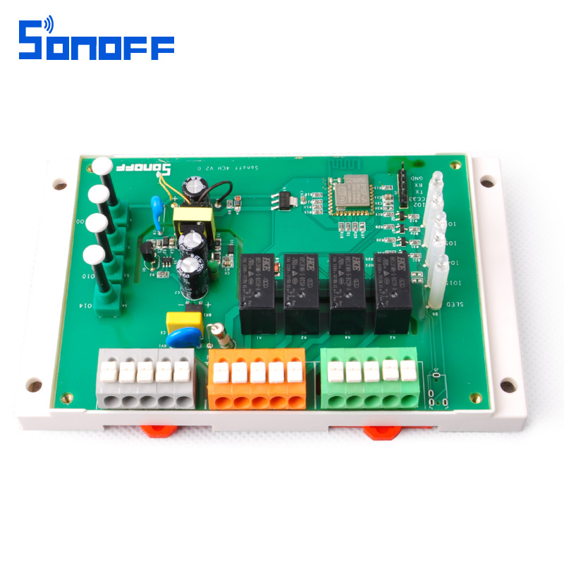 US $23 45 18% OFF|Sonoff 4CH Smart Remote Control Wireless Switch Module  WiFI Home Automation on off 4 Channel Din Rail Mounting Intelligent  2200W-in