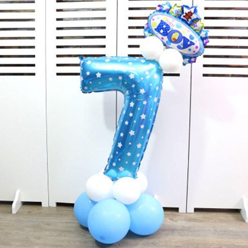 32-дюймовый Цифровой шар детское платье для дня рождения с рисунком надувной детский День рождения украшения вечерние шляпа воздушный шар для колонны игрушка - Цвет: Blue number 7