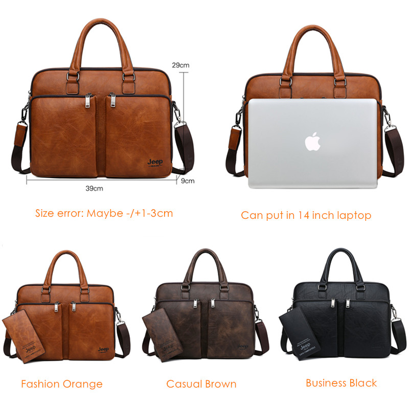 Image 2 - JEEP BULUO Brand Man Briefcase Large Capacity Leather Casual  Shoulder Bag For Men Laptop Business Bags Handbags High end  NewBriefcases