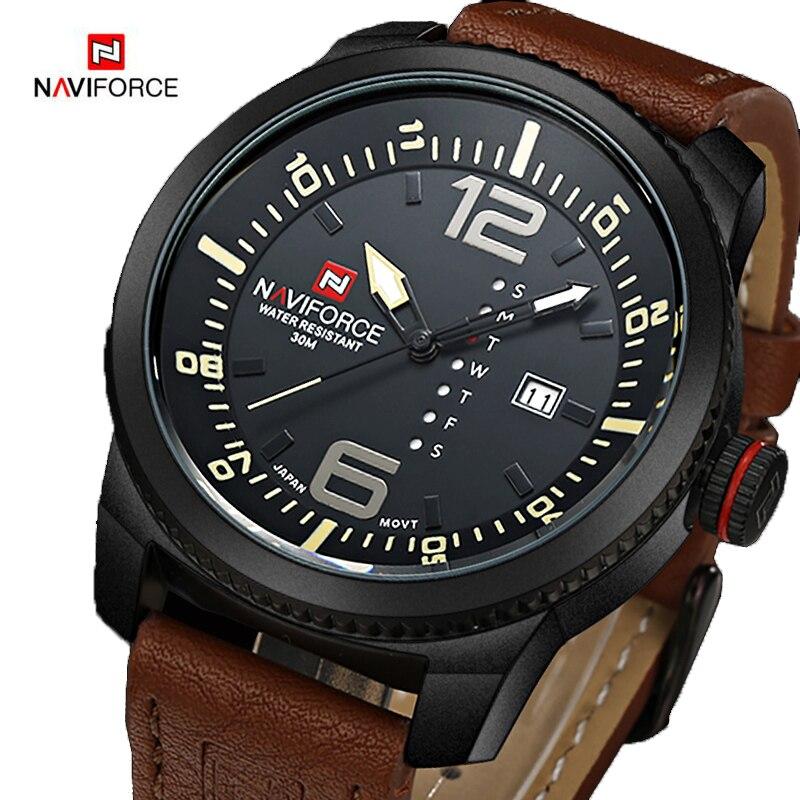 NAVIFORCE Mens Watches Top Brand Luxury Sport Leather Military Men Watch Clock Waterproof Quartz Watch Relogio Masculino