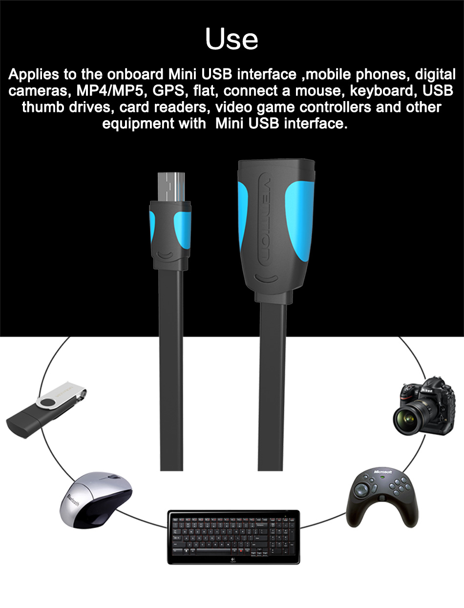Vention Mini USB OTG Cable And USB OTG Adapter For GPS Camera Mobile Phone Tablet And More 9