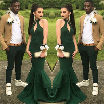 2019 Dark Green Prom Dress Mermaid Sleeveless Formal Pageant Holidays Wear Graduation Evening Party Gown Custom Made Plus Size