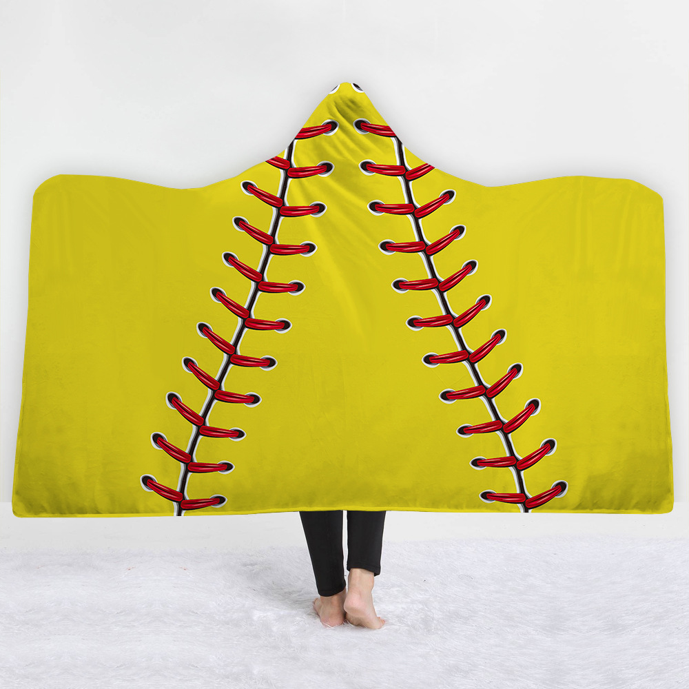 Sports Ball Series Hooded Blanket 3D Guitar Sherpa Fleece Wearable Blanket Adults Musical Instrument Throw Blanket