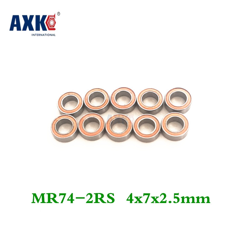 Axk Free Shipping 50 Piece/lot Miniature Bearing Mr74-2rs,mr74zzs 4x7x2.5mm Shigh Precision free shipping 50pcs lot miniature bearing 688 688 2rs 688 rs l1680 8x16x5 mm high precise bearing usded for toy machine