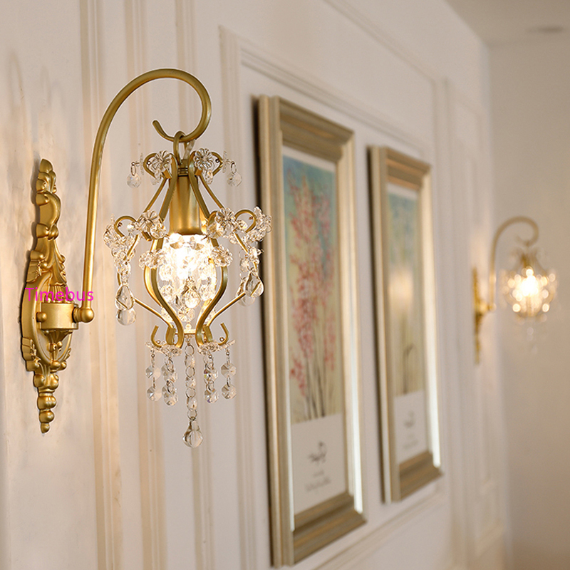 Amerikaanse Crystal Muur Licht Eenvoudige Spiegel koplamp Gangpad Lamp Goud Nachtkastje licht Nordic Hotel Woonkamer Achtergrond Wandlamp - 2