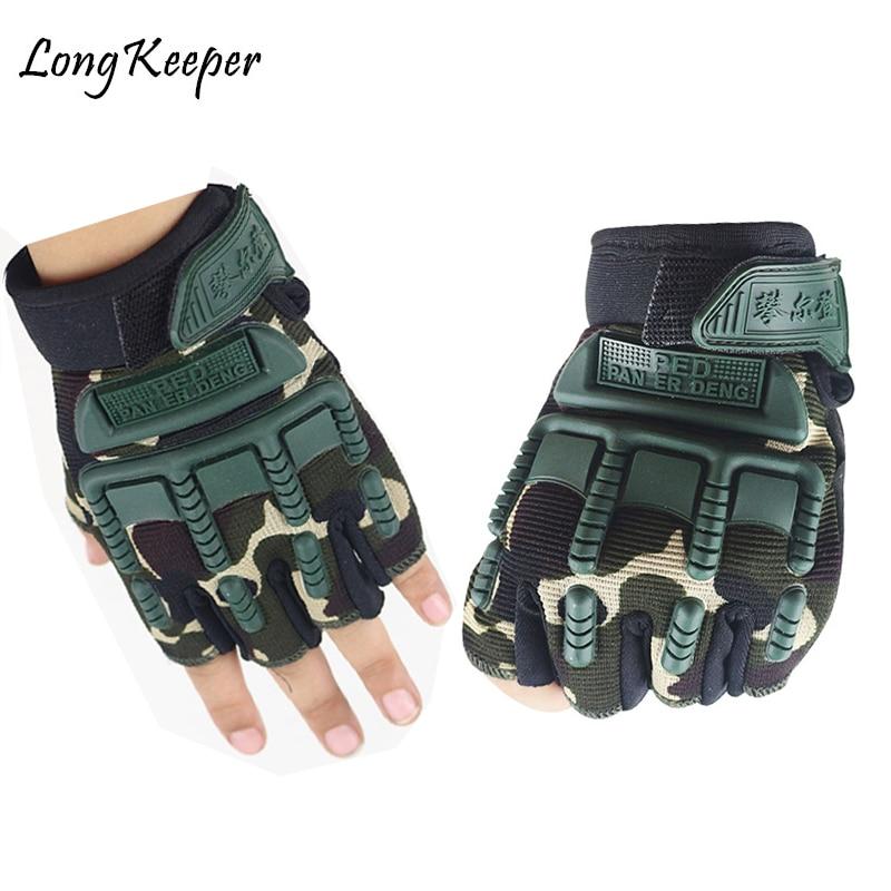 5-13 Years Old Kids Tactical Fingerless Gloves Military Armed Anti-Skid Rubber Knuckle Half Finger Boys Girls Children Gloves