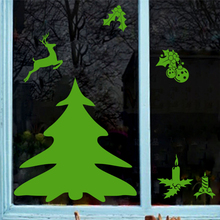 new green christmas tree reindeer wall decals bedroom shop window home decor happy year stickers vinyl wallpaper